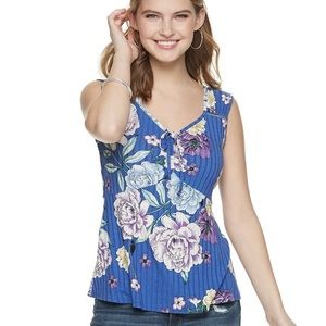 NEW Candie's Floral Ruched Tie Front Tank Top